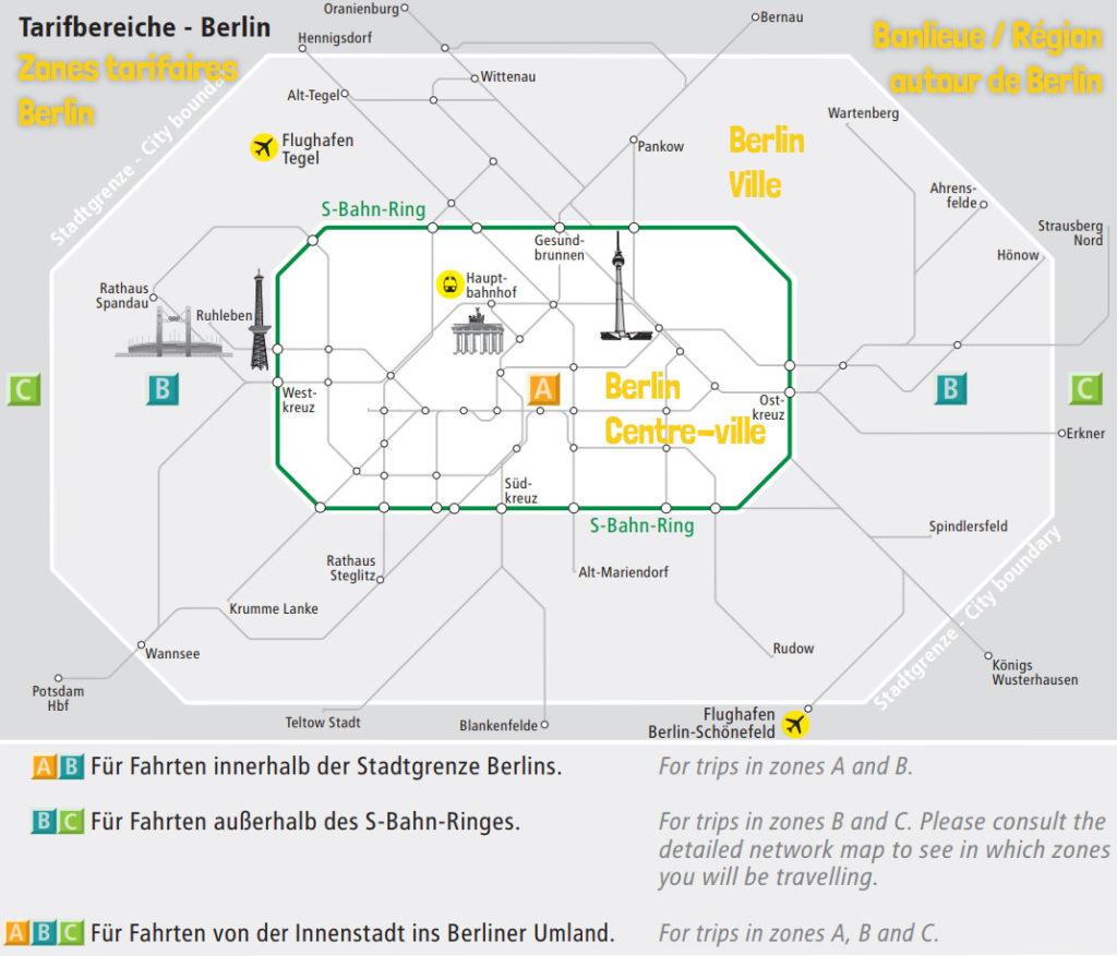 Zones tarifaires Berlin Métro Transports